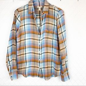 J Crew Fall Plaid Button Down Size 8